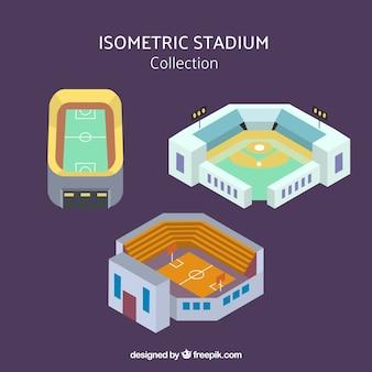 Coleção de estádios em estilo isométrico
