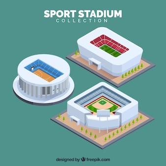 Coleção de estádios esportivos em estilo isométrico