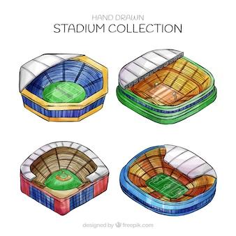 Coleção de estádios na mão desenhada estilo