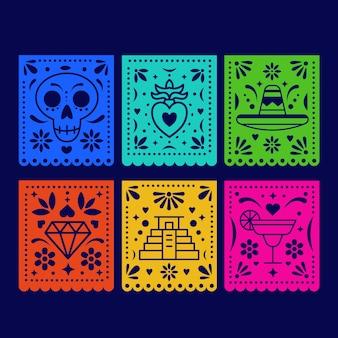 Coleção de estamenha de design mexicano Vetor grátis