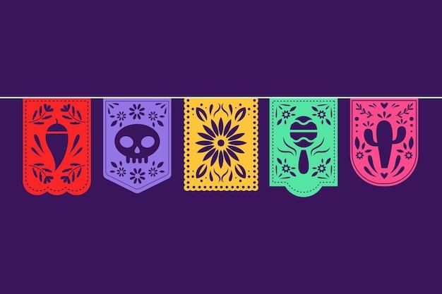 Coleção de estamenha de guirlanda colorida mexicana