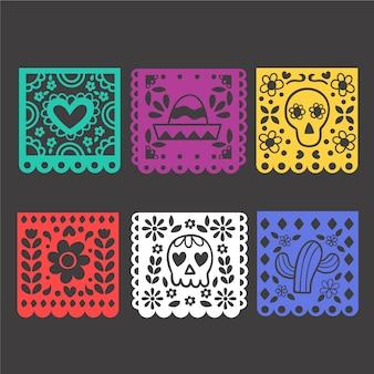 Coleção de estamenha mexicana de design plano