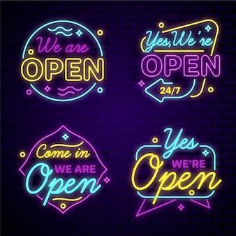 Coleção de estamos abertos em luzes de neon