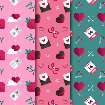 Coleção de estilo de design plano de coleção de padrão de dia dos namorados
