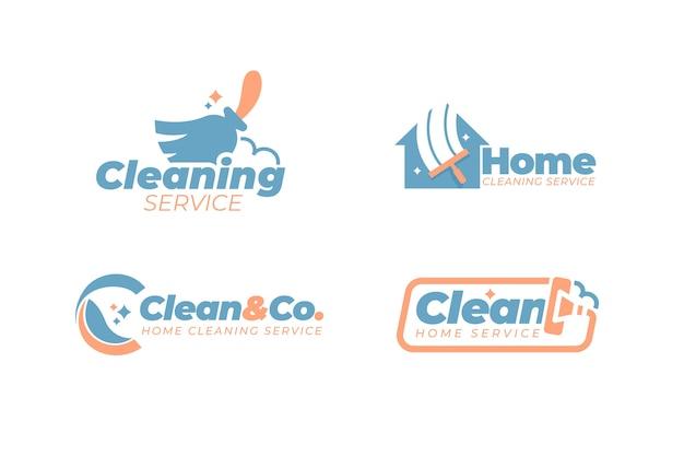 Coleção de estilo de logotipo de limpeza