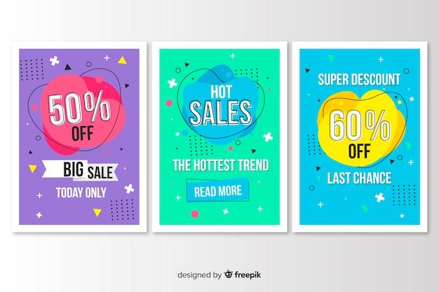 Coleção de estilo de memphis de banner de venda