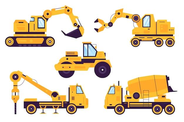 Coleção de estilo ilustrado de escavadeira