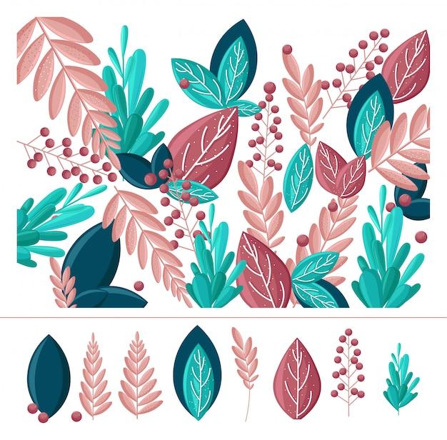 Coleção de estilo plano abstrato de folha