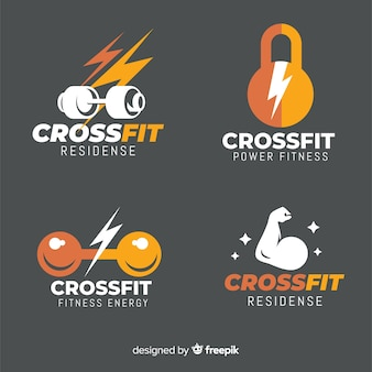 Coleção de estilo plano de logotipo crossfit