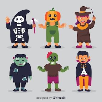 Coleção de estilo plano de personagens famosos de halloween
