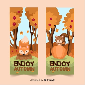 Coleção de estilo simples banner de outono