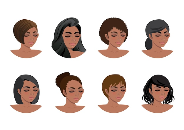 Coleção de estilos de cabelo de mulheres afro-americanas. conjunto de avatares mulheres negras 3/4 vista