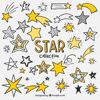 Coleção de estrela desenhada a mão