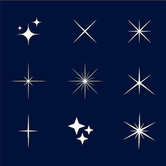 Coleção de estrelas cintilantes de design plano