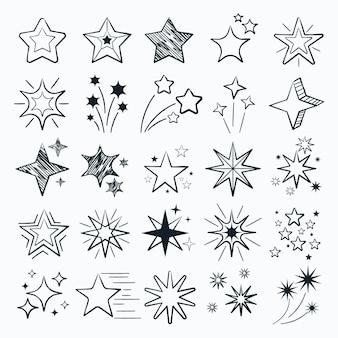 Coleção de estrelas cintilantes desenhada à mão