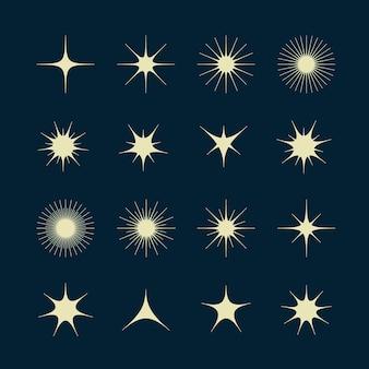 Coleção de estrelas cintilantes planas
