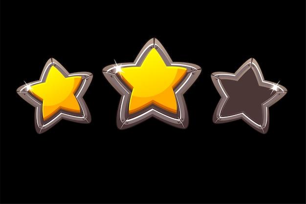 Coleção de estrelas de metal isoladas para avaliar um jogo