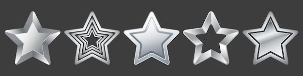 Coleção de estrelas de prata em fundo preto para ícones de jogos de férias prêmio e classificação