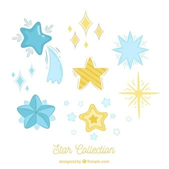 Coleção de estrelas desenhadas a mão