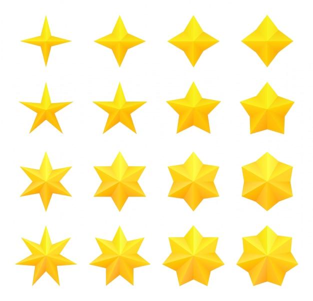 Coleção de estrelas douradas diferentes brilhantes