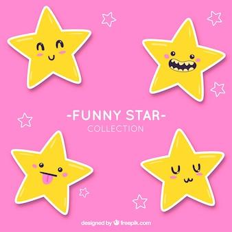 Coleção de estrelas engraçadas desenhadas a mão