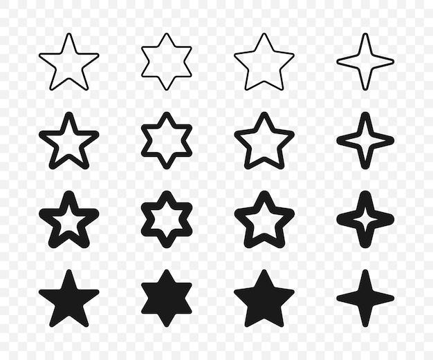 Coleção de estrelas. estrelas lineares, isoladas. ícone de estrela do vetor. ilustração vetorial