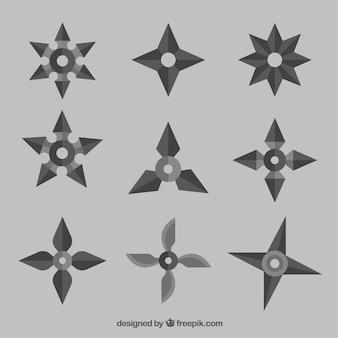 Coleção de estrelas ninja com design plano