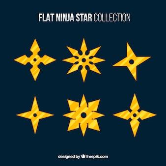 Coleção de estrelas ninja dourado