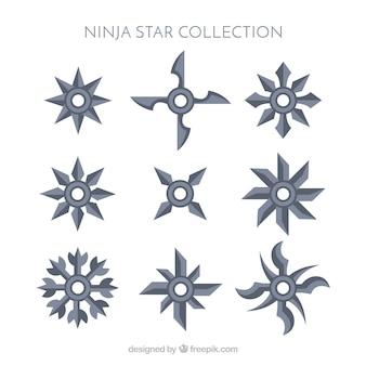 Coleção de estrelas ninja tradicional com design plano