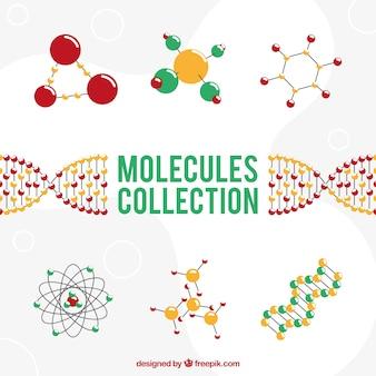 Coleção de estruturas moleculares em design plano