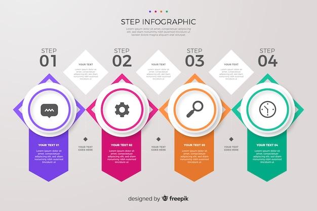 Coleção de etapas de infográfico colorido