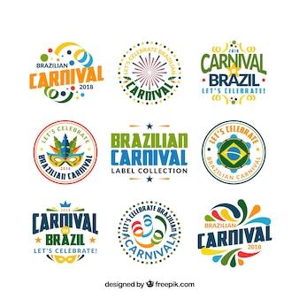 Coleção de etiqueta / badge de carnaval brasileiro plano