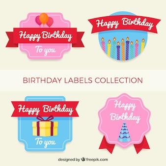 Coleção de etiqueta de aniversário com estilo retro