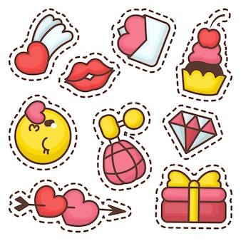Coleção de etiqueta de elemento de amor