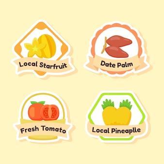 Coleção de etiqueta de frutas isolada em amarelo