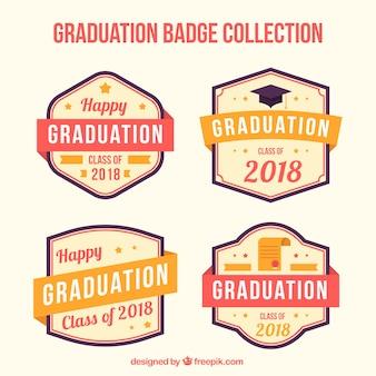 Coleção de etiqueta de graduação de pacote moderno com design plano