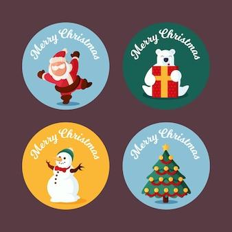 Coleção de etiqueta de natal em design plano