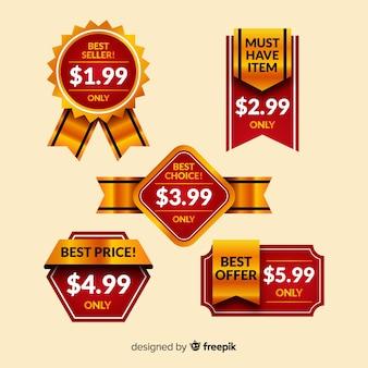 Coleção de etiqueta de preço detalhes dourado