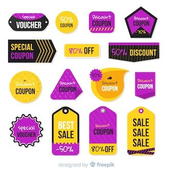 Coleção de etiqueta de venda de cupom criativo