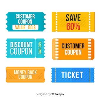 Coleção de etiqueta de venda de cupom moderno com design plano