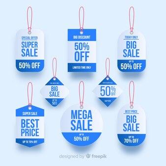 Coleção de etiqueta de venda de estilo realista
