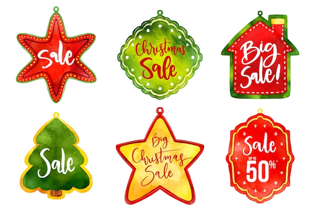 Coleção de etiqueta de venda de natal em aquarela