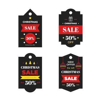 Coleção de etiqueta de venda de natal em design plano