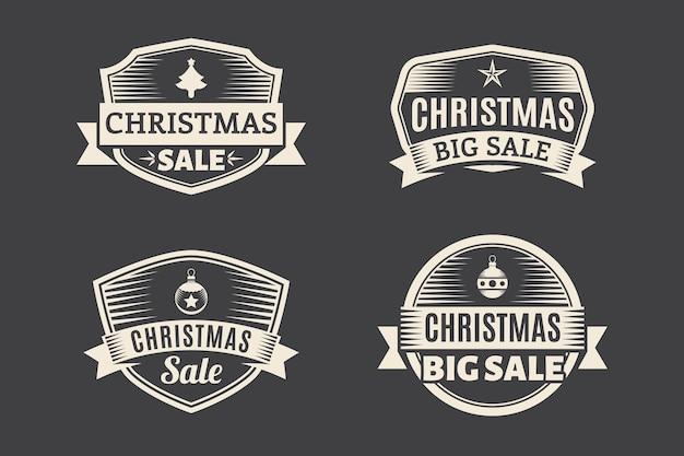 Coleção de etiqueta de venda de natal vintage