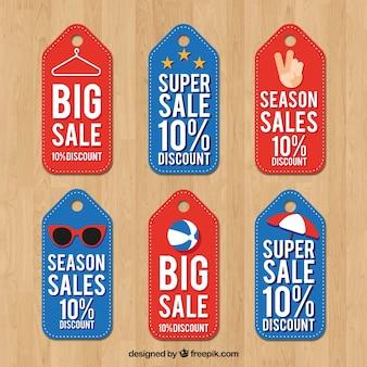 Coleção de etiqueta de venda em design plano