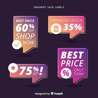 Coleção de etiqueta de venda gradiente