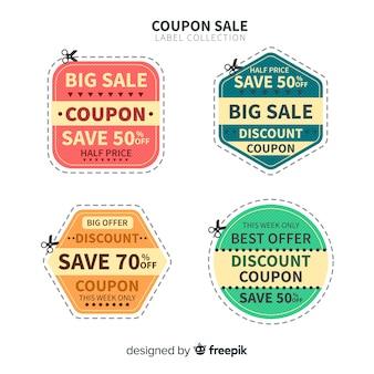 Coleção de etiqueta de venda grande cupom