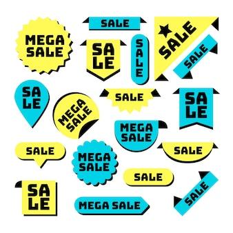 Coleção de etiqueta de vendas de design plano