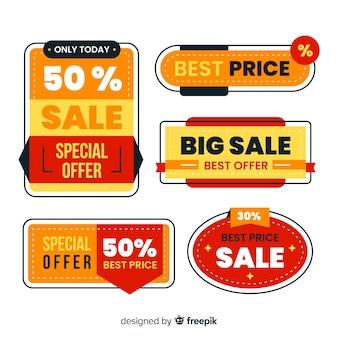 Coleção de etiqueta de vendas design plano