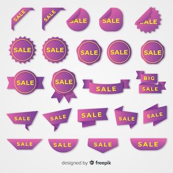 Coleção de etiqueta de vendas gradiente